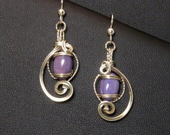 Purple Charoite Gemstone Wire Sculpture Earrings, Argentium 935 Sterling Silver, Unique Handmade Earrings