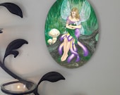 Mother and Child of the Fae, Oval Tile Wall Hanging