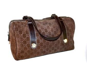 GUCCI Vintage Speedy Handbag Brown Monogram Suede and Leather Doctors Tote - AUTHENTIC -