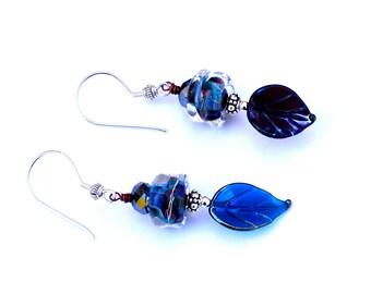 Cobalt Blue Boro Bead Earrings. Sterling Silver Beads. Elegant Midnight Blue Lampwork Earrings. Dangle Earrings. Glass Bead Jewelry.