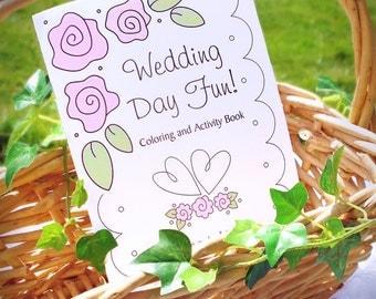 Wedding Coloring Book - Kids Wedding Favors - Personalized & Printable PDF Wedding Activity Book - Half Fold Book