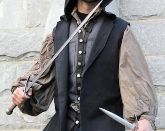 Hooded Vest - Black Vest - Denim Vest - Medeival Vest - Renaissance Vest