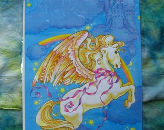 PEGASUS GIFT BAG - 7.5 by 11 Inches Bags Still in Original Shrink Wrap Packaging, Fun 1980s 80s Nostalgia Birthday Wrapping Paper Beautiful