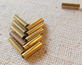 Vintage Mini Hollow Raw Brass Tube Beads (144 count) Industrial, Patina