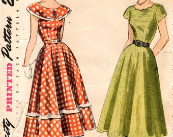 1940s Day Dress with Scalloped or Wide Collar - Vintage Pattern Simplicity 2896