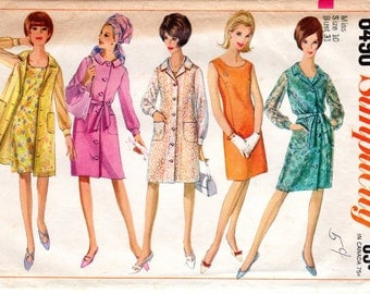 1960s Coat Dress Pattern - Vintage Simplicity 6490 - Multiple Sizes
