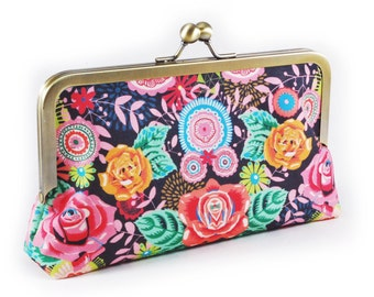 Floral clutch purse on navy