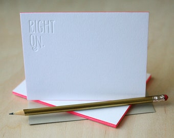 Letterpress Edge Painted Stationery - Right On Notes