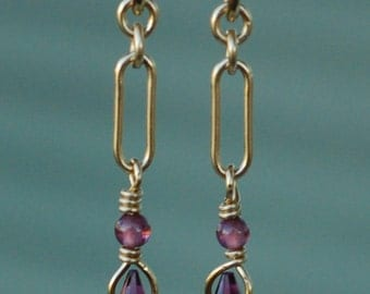 Garnet Earrings 5, Garnet Faceted Drop Briolette, Gold Filled