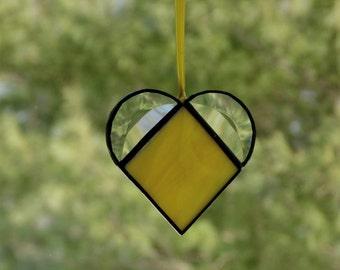 Stained glass heart suncatcher, yellow heart, gift for her, heart suncatcher, keepsake gift, small heart, bridesmaids gift, home decor