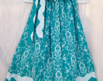 Custom Boutique handmade Turquoise Floral and Chevron Pillowcase Dress