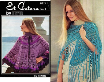 1970s Poncho Shawl Cape Vintage Knitting & Crochet Patterns Booklet Villawool Etcetera No 1 Boho Womens Designs ORIGINAL not PDF copy