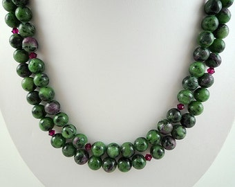 Ruby Zoisite Necklace Long Ruby Zoisite Gemstone Necklace Long Black Green Bead Necklace Long Ruby Zoisite Strand Long Green Necklace Beads