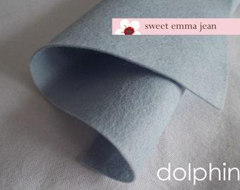 Wool Felt 1 yard cut - Dolphin - light grey wool blend felt