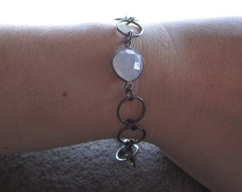Oxidized Sterling Silver Bracelet with Rainbow Moonstone Natural Gemstone Bracelet