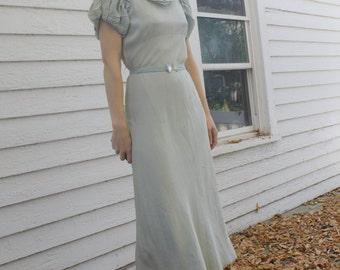 Vintage 30s Dress Pale Blue Art Deco 1930s XS