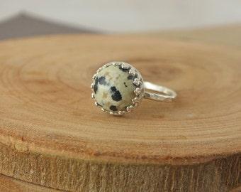 Dalmation Jasper,  Stacking Ring, Jasper Bezel Ring, Jasper Ring, Jasper Jewelry, Jasper, Statement Rings, Sustainable Jewelry, Eco Fashion