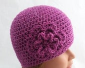 womens crocheted hat, womans hat, hats for girls, vegan friendly hats, pink, flower youth adult hats for women 2429