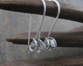 Herkimer Diamond Sterling Silver Long Hook Earrings - Rough , Hammered , Raw Quartz