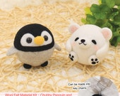 Needle Felting Use Wool Felt to make Chubby polar bear and penguin Key Chains --- English Material Kit (English / For Beginner)