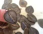 20 Heart Shaped Miraculous Medals in Vintage Bronze Finish, Catholic Jewelry Supplies