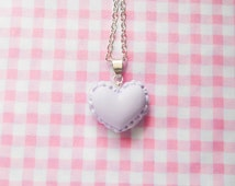 Macaron Necklace, Macaroon Necklace, Heart Macaron, Heart Macaroon, Food Necklace, Pretty Necklace, Cute Necklace, Pastel / Light Purple