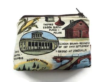Zipper Pouch - Repurposed Vintage Ohio Souvenier Tea Towel - Soft Felt Lining - Credit Card Case - Makeup Bag - Handmade