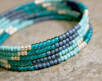 Turquoise Teal Blue Silver Bracelet Stack Bangle Memory Wire