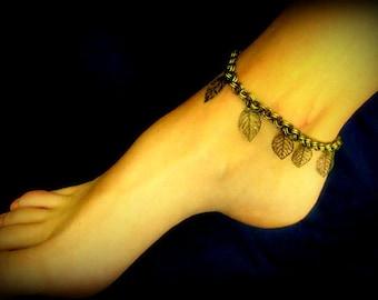 Anklet - Dangling Leaves in Antique Bronze