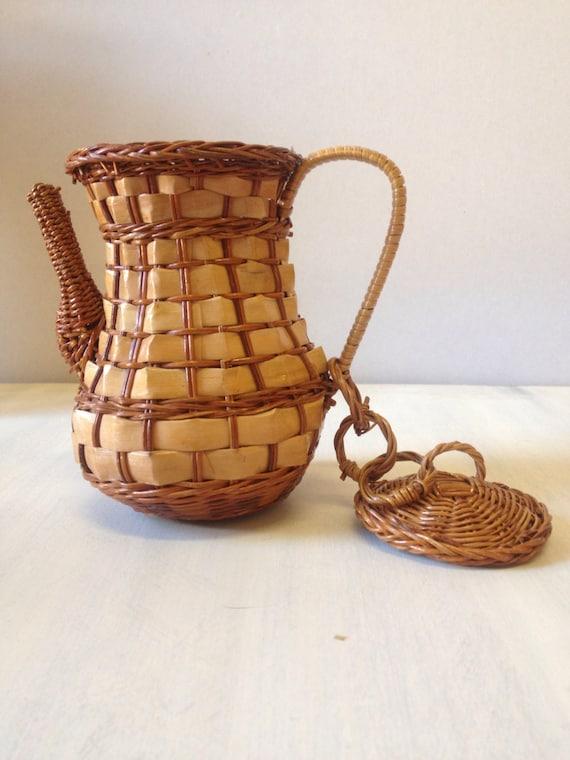 Wicker Coffee Pot Basket Storage Plant Holder Spider Plant