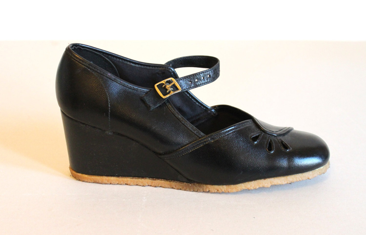70s platforms wedge shoes leather by trudysstorevintage on