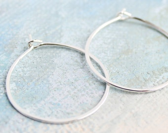 "Silver Hoop Earrings - Small Sterling Silver Hoops ( 1"" ) thin hoop earrings, small hoop earrings, silver hoop earings, silver earrings"