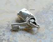 Sterling Silver Heart Lock and Key Charm -  Lock and Keys
