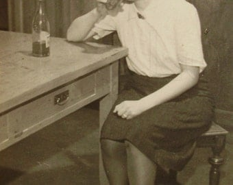 Vintage Photo - Young Woman Drinking