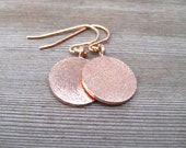 Rose Gold Disc Earrings, Gold Circle, Pink Gold Jewelry, Brushed Gold Earrings, Simple Drop, Minimalist Design