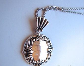 Vintage Necklace Sterling Edwardian style Silver Pendant - engravable - on sale