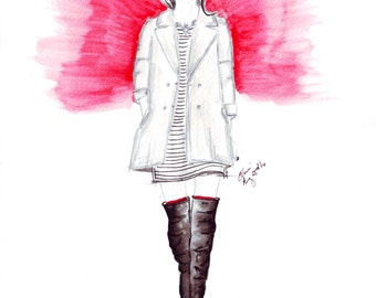 Watercolour fashion illustration Titled Chilled City Style