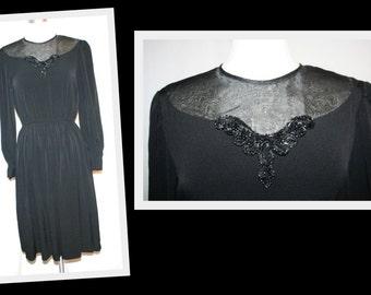 1980s I Magnin/Zizi Petites by Barbara Chodos/ Black Sheer Organza Beaded Neck Vintage Cocktail Dress