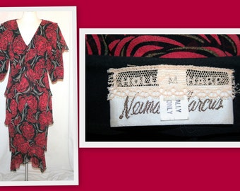Holly Harp for Neiman Marcus 1980s Red/Black Floral Print Tiered Vintage Dress
