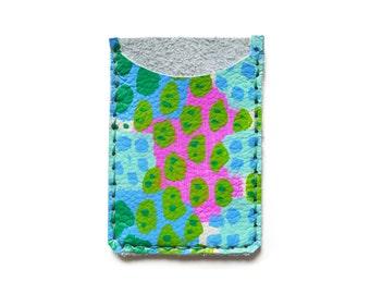 Leather Card Holder, Leather Wallet, Business Card Holder, Blue Green Fuchsia Wallet, Polka Dot Art Wallet, Modern Card Case, Minimal Wallet