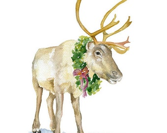 Reindeer Watercolor Painting - 8 x 10 - Christmas Wall Art - 8.5 x 11 Giclee Print