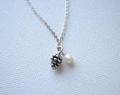 Charm necklace silver | small | pearl | pine cone | rustic