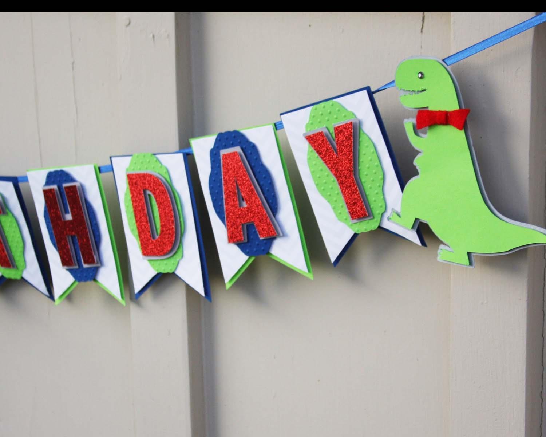 Dinosaur Banner Dinosaur Birthday Party by lizabitsdesigns on Etsy