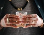 Freebird - hammered brass, three-finger ring, brass knuckles, hammered gold bar unisex ring