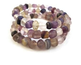 Purple Wrap Bracelet Fluorite Stone, Purple Pebble Bracelet Wrap Design, Memory Bracelet Wrap Purple Bracelet Fluorite Jewelry Purple
