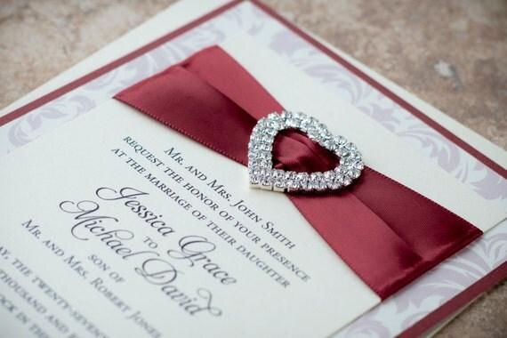 Double-Row Heart-Shaped Bling & Satin, A7 Pocket, Wedding Invitation (Any Color)