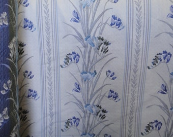 """54"""" Wide Vintage Victorian Style Cream and Blue Iris Floral patterns Cotton Upholstery Fabric for Headboard Chair Cushions  ST"""