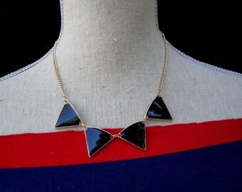 Avant Garde Fashion Forward Gold Tone Metal Black Enamel Necklace Part with Triangles Neckline Embellishment Accessory Tribal Ethnic OCJ