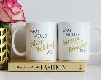 Blair and Serena BFF Mugs / black and gold coffee mug - quote - inspirational mug - ceramic - gift - chuck bass