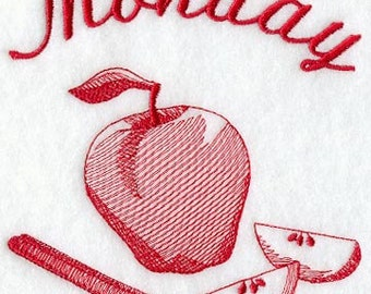 7 Embroidered Kitchen Towels - Days of the Week (DOW) - Fruit Designs